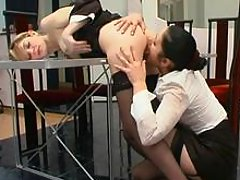 Usual working day ends with ass-cramming for strap-on armed lesbian babe