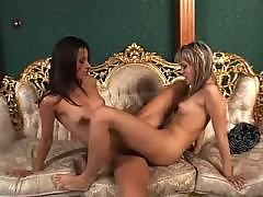 Lesbians caress and kiss pussy